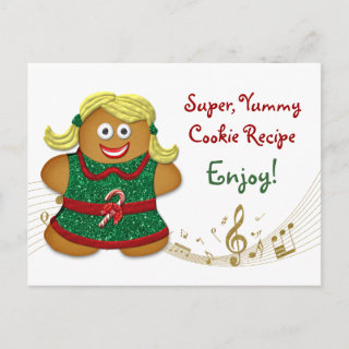 Gingerbread Cookie Recipe Card for Holiday Cookie Exchange