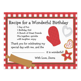 Cookie Recipe Thank You Note Personalized Announcement