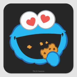 Cookie Smiling Face with Heart-Shaped Eyes Square Sticker