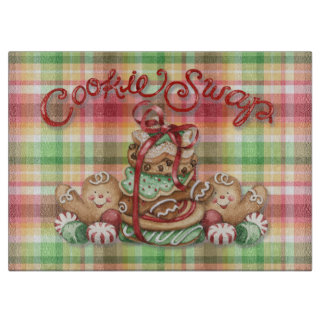 Cookie Swap Gingerbread Plaid Cutting Board