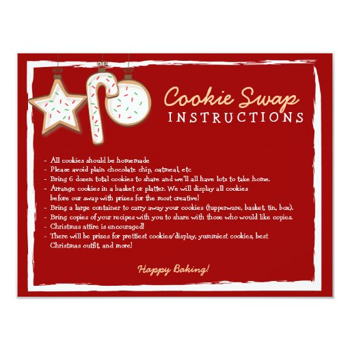 Cookie Swap Instruction Card - You can customize!