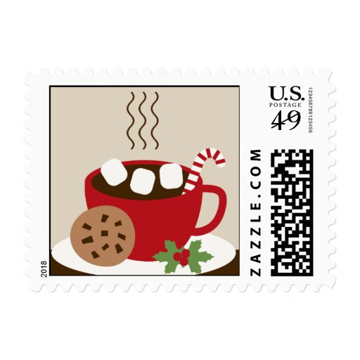 Cookies and Cocoa Christmas Postage Stamp