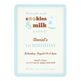 Cookies and Milk Birthday Invitation, Blue Card