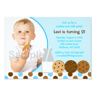 "Cookies and Milk Blue Photo Birthday Invitations 5"" X 7"" Invitation Card"