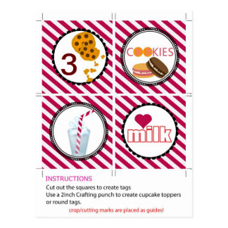 cookies and milk cupcake toppers and tags postcard