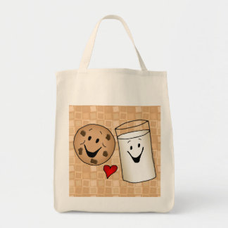 Cookies and Milk Friends Cartoon Reusable Shopping Tote Bag