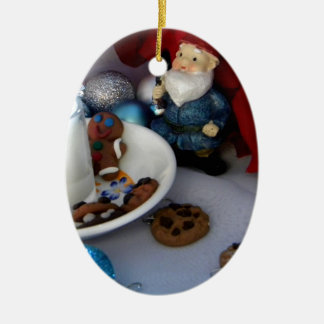 Cookies and Milk Gnome II Double-Sided Oval Ceramic Christmas Ornament