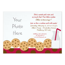 Cookies and Milk Photo Birthday Invitations