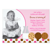 Cookies and Milk Pink Photo Birthday Invitations