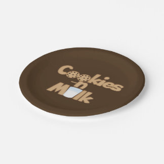 Cookies and Milk word art party paper plate