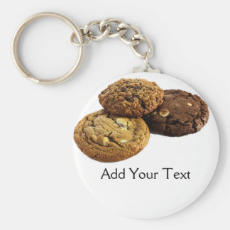 Cookies and Other Delicious Desserts on Red Basic Round Button Keychain