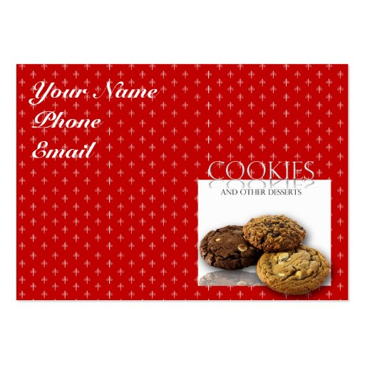 Cookies and Other Delicious Desserts on Red Business Cards