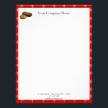 """Cookies and Other Delicious Desserts on Red Letterhead<br><div class=""""desc"""">A bold stationery or promotional piece can be a great advertising tool for your business. Use them yourself, give to employees, or use them as customer give-aways. This design has a beautiful red background with a small white fleur de lis pattern. In the bottom left corner there is a picture...</div>"""