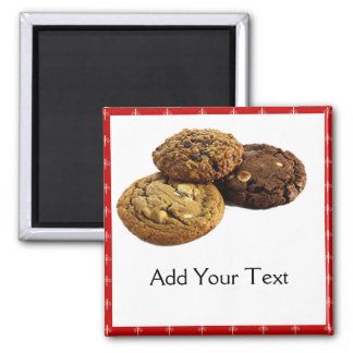 Cookies and Other Delicious Desserts on Red Refrigerator Magnets