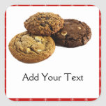 Cookies and Other Delicious Desserts on Red Square Sticker