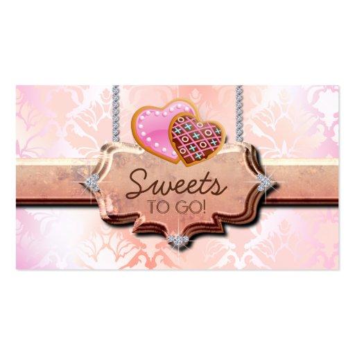 Cookies Bakery Cute Damask Peach Business Card
