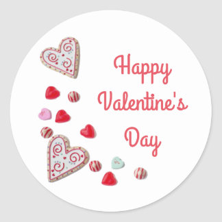 Cookies Candy Hearts Happy Valentines Day Classic Round Sticker