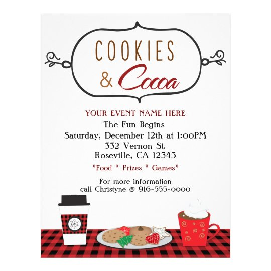 cookies  u0026 cocoa holiday party event flyer