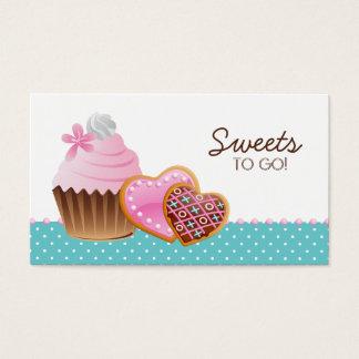 Cookies Cupcake Bakery Cute Polka Dots Modern blue Business Card