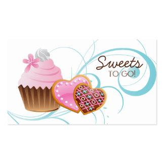 Cookies Cupcake Bakery Cute Swirl Modern blue Business Card