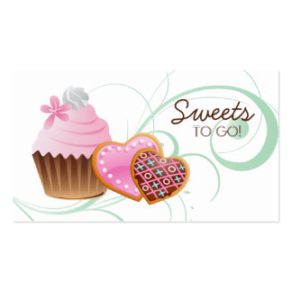 Cookies Cupcake Bakery Cute Swirl Modern green Business Card Templates