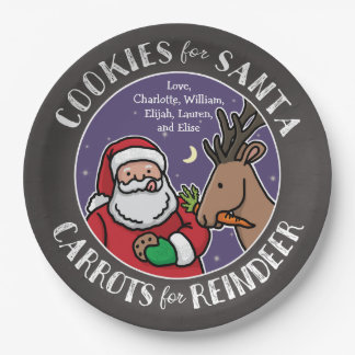 Cookies For Santa, Carrots Reindeer, Chalkboard Paper Plate