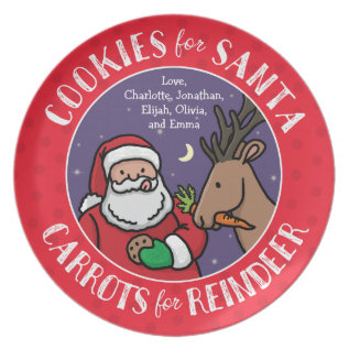 Cookies For Santa, Carrots Reindeer, Personalized Melamine Plate at Zazzle