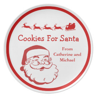 Cookies for Santa Christmas Eve Sleigh Personalize Plate