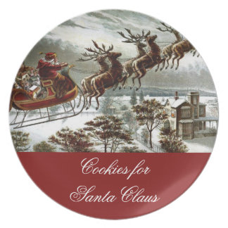 Cookies for Santa Claus Christmas Eve Reindeer Melamine Plate