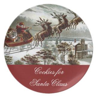 Cookies for Santa Claus Christmas Eve Reindeer Dinner Plate