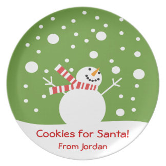 Cookies for Santa Holiday Snowman Dinner Plate