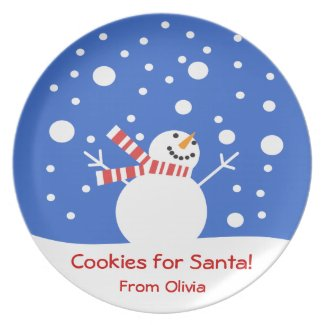 Cookies for Santa Holiday Snowman Dinner Plates