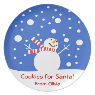 Cookies for Santa Holiday Snowman Melamine Plate