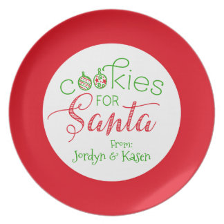 """Cookies for Santa"" Personalized Christmas Melamine Plate"
