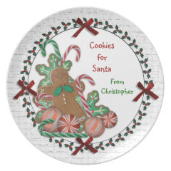 Cookies for Santa Plate with child's name