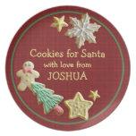 Cookies For Santa Red Plaid Custom Name Plate