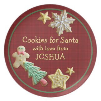 Cookies For Santa Red Plaid Custom Name Plate