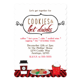 Cookies & Hot Drinks Holiday Party Invitations