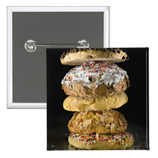Cookies in a stack 2 inch square button
