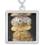 Cookies in a stack square pendant necklace