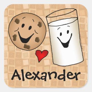 Cookies loves Milk Cartoon Kids Name Sticker