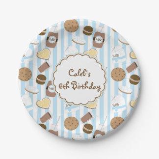 Cookies & Milk Blue Boys Birthday Party Plates