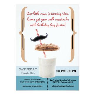 Cookies & Milk Mustache for First Birthday Boy Card