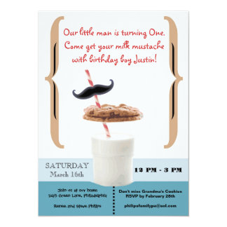 "Cookies & Milk Mustache for First Birthday Boy 5.5"" X 7.5"" Invitation Card"