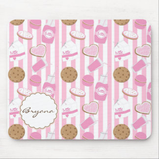 Cookies & Milk Pink Bakery Cute Computer Mouse Pad