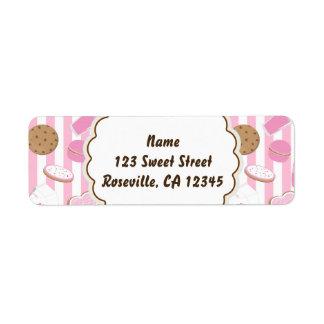 Cookies & Milk Pink Girls Party Address Label