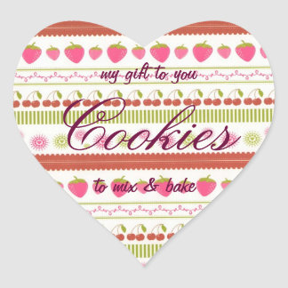 Cookies Mix in Jar Label Cherries and Strawberries Heart Sticker