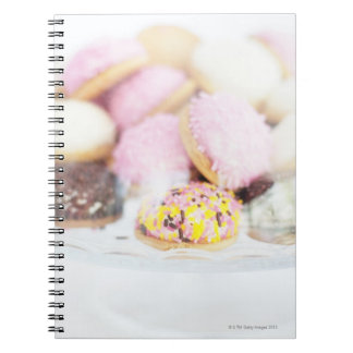 Cookies on table notebook