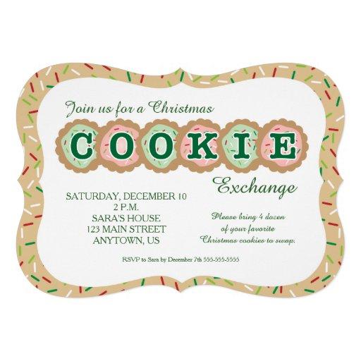 Cookies with Sprinkles Christmas Cookie Exchange Custom Invites