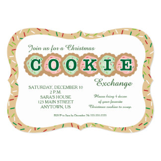 Cookies with Sprinkles Christmas Cookie Exchange 5x7 Paper Invitation Card